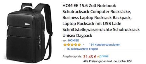 HOMIEE 15.6 Zoll Unisex Daypack / Laptop-Rucksack mit USB-Ladeschnittstelle, schwarz - jetzt 36% billiger