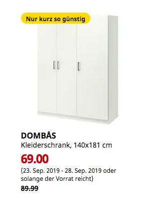 IKEA Bielefeld - DOMBÅS Kleiderschrank, weiß, 140x181 cm - jetzt 23% billiger