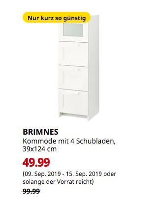 IKEA Bremerhaven - BRIMNES Kommode mit 4 Schubladen, weiß, Frostglas, 39x124 cm - jetzt 50% billiger