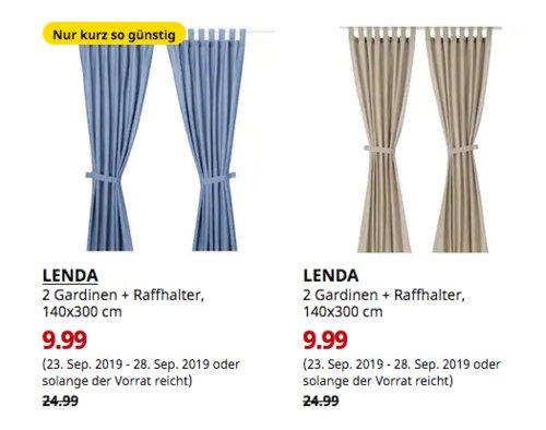 IKEA Bremerhaven - LENDA 2 Gardinen + Raffhalter, 140x300 cm, leuchtend blau oderhellbeige - jetzt 60% billiger