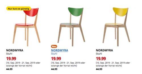 IKEA Bremerhaven - NORDMYRA Stuhl (grün, rot oder gelb) - jetzt 56% billiger