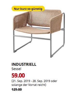 IKEA Brinkum - INDUSTRIELL Sessel, naturfarben, grau - jetzt 54% billiger