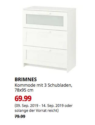 IKEA Chemnitz - BRIMNES Kommode mit 3 Schubladen, weiß, Frostglas, 78x95 cm - jetzt 13% billiger