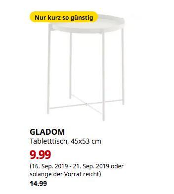 IKEA Düsseldorf - GLADOM Tabletttisch, weiß, 45x53 cm - jetzt 33% billiger