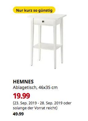 IKEA Düsseldorf - HEMNES Ablagetisch, weiß, 46x35 cm - jetzt 60% billiger
