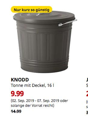 IKEA Dortmund - KNODD Tonne mit Deckel, grau, 16 l - jetzt 33% billiger