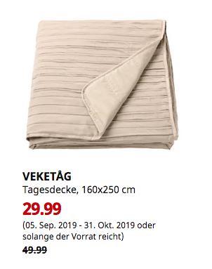 IKEA Dresden - VEKETÅG Tagesdecke, beige, 160x250 cm - jetzt 40% billiger