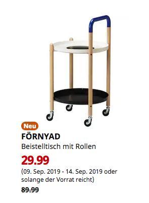 IKEA Erfurt - FÖRNYAD Beistelltisch mit Rollen, Buche, schwarz - jetzt 67% billiger