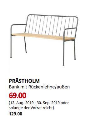 IKEA Freiburg - PRÄSTHOLM Bank mit Rückenlehne/außen, grau - jetzt 47% billiger