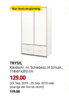 IKEA Hamburg-Altona - TRYSIL Kleidschrank mit Schiebetüren/4 Schubladen, weiß, 118x61x202 cm - jetzt 28% billiger