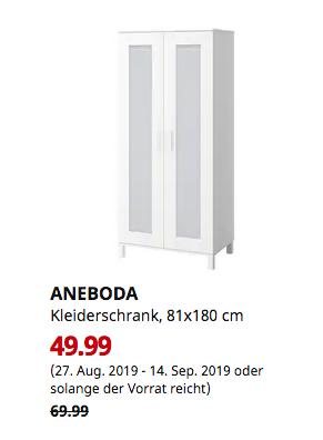 IKEA Hamburg-Schnelsen - ANEBODA Kleiderschrank, weiß, 81x180 cm - jetzt 29% billiger