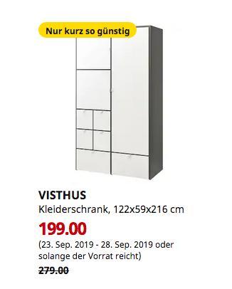 IKEA Hanau - VISTHUS Kleiderschrank, grau, weiß, 122x59x216 cm - jetzt 29% billiger