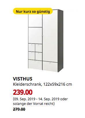 IKEA Köln-Godorf - VISTHUS Kleiderschrank, grau, weiß, 122x59x216 cm - jetzt 14% billiger