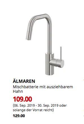 IKEA Kaarst - ÄLMAREN Mischbatterie mit ausziehbarem Hahn, stahlfarben - jetzt 16% billiger