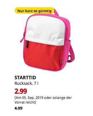 IKEA Kiel - STARTTID Rucksack, rosa/weiß, 7 l - jetzt 40% billiger