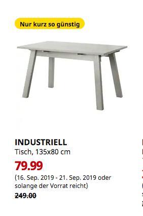 IKEA Ludwigsburg - INDUSTRIELL Tisch, hellgrau, 135x80 cm - jetzt 68% billiger