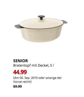 IKEA Ludwigsburg - SENIOR Bratentopf mit Deckel, weiß elfenbeinweiß, 5 l - jetzt 25% billiger