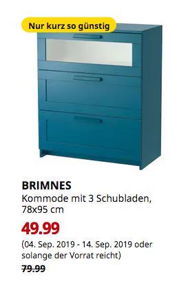 IKEA München-Brunnthal - BRIMNES Kommode mit 3 Schubladen, dunkel grünblau, Frostglas, 78x95 cm - jetzt 38% billiger