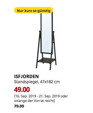 IKEA München-Brunnthal - ISFJORDEN Standspiegel, schwarzbraun gebeizt, 47x182 cm - jetzt 39% billiger