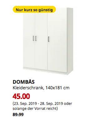IKEA Magdeburg - DOMBÅS Kleiderschrank, weiß, 140x181 cm - jetzt 50% billiger