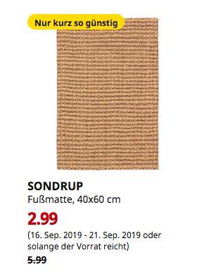 IKEA Magdeburg - SONDRUP Fußmatte, naturfarben, 40x60 cm - jetzt 50% billiger