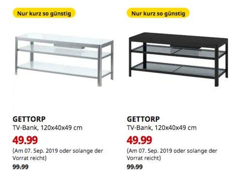 IKEA Oldenburg - GETTORP TV-Bank, Aluminium, 120x40x49 cm,weiß oder schwarz - jetzt 50% billiger