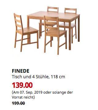 IKEA Regensburg - FINEDE Tisch und 4 Stühle, Bambus, 118 cm - jetzt 30% billiger