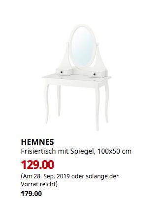 IKEA Regensburg - HEMNES Frisiertisch mit Spiegel, weiß, 100x50 cm - jetzt 28% billiger