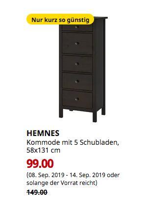 IKEA Würzburg - HEMNES Kommode mit 5 Schubladen, schwarzbraun, 58x131 cm - jetzt 34% billiger