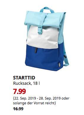 IKEA Würzburg - STARTTID Rucksack, blau/weiß, 18 l - jetzt 53% billiger