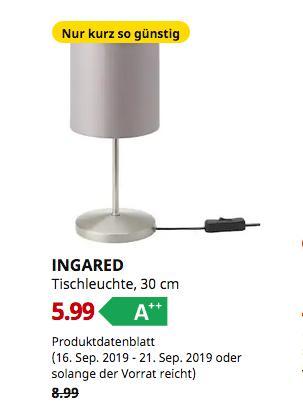 IKEA Wallau - INGARED Tischleuchte, grau, 30 cm - jetzt 33% billiger