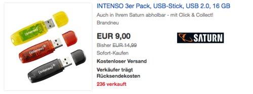 INTENSO 3er-Pack USB 2.0 -Stick 16 GB (schwarz, rot, gelb) - jetzt 40% billiger