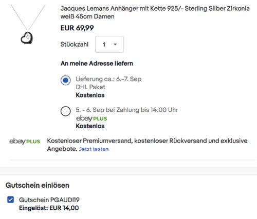 Jacques Lemans Anhänger mit Kette 925/- Sterling Silber, 45cm - jetzt 20% billiger