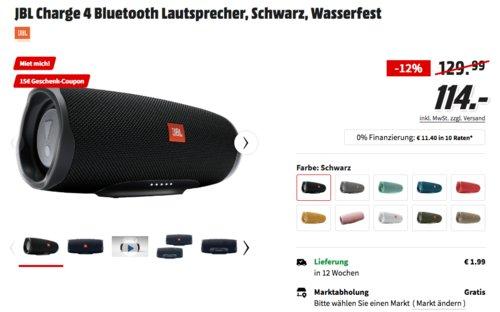 JBL Charge 4 Bluetooth Lautsprecher in Schwarz inkl. 15€ Geschenk-Coupon - jetzt 12% billiger