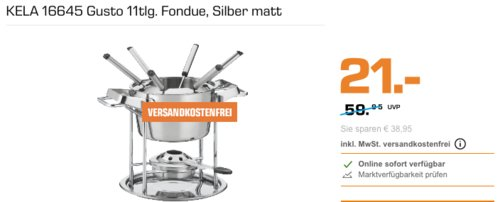 KELA 16645 Gusto Fondue-Set, 11tlg - jetzt 26% billiger
