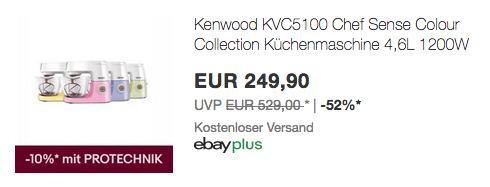 Kenwood Chef Sense KVC5100 Küchenmaschine, versch. Farben - jetzt 10% billiger