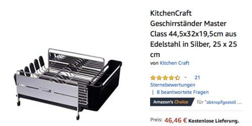 """KitchenCraft Geschirrständer """"Master Class"""" aus Edelstahl, 44,5x32x19,5cm - jetzt 29% billiger"""