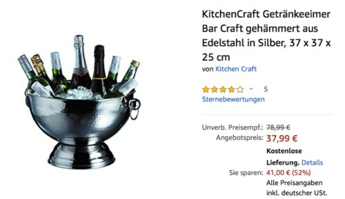 KitchenCraft Getränkeeimer Bar Craft gehämmert aus Edelstahl, 37 x 37 x 25 cm - jetzt 24% billiger