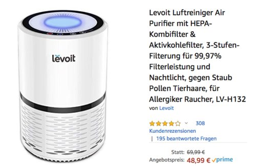 Levoit LV-H132 Luftreiniger mit HEPA-Kombifilter - jetzt 30% billiger