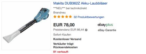 Makita DUB362Z 18V Akku-Laubbläser (ohne Akku, ohne Ladegerät) - jetzt 12% billiger