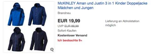 McKINLEY Justin oder Aman 3 in 1 Kinder-Doppeljacke für Mädchen und Jungen (116-176) - jetzt 47% billiger