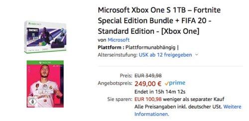 Microsoft Xbox One S 1TB – Fortnite Special Edition Bundle + FIFA 20 - Standard Edition - jetzt 29% billiger