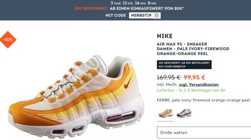 Nike Air Max 95 - Damen Sneaker  in Orange Peel (36,5 - 42,5) - jetzt 24% billiger