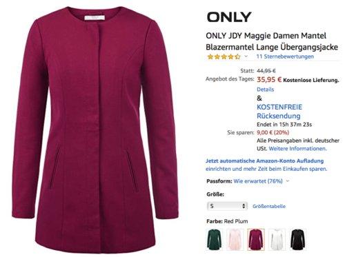 ONLY JDY Maggie Damen Mantel, versch. Farben und Größen - jetzt 20% billiger