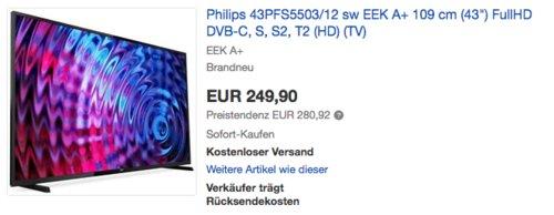 Philips 43PFS5503/12 108 cm (43 Zoll) LED-Fernseher (Full-HD, DVB-S, DVB-T, DVB-C, DVB-S2, DVB-T2) - jetzt 15% billiger