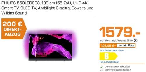 PHILIPS 55OLED903 139 cm (55 Zoll) OLED 4K - Fernseher mit 3-seitigem Ambilight - jetzt 13% billiger