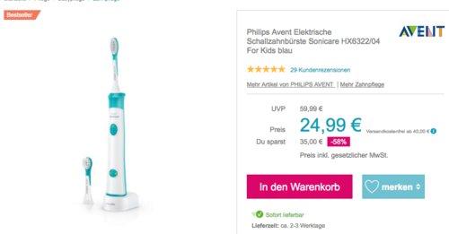 Philips Avent  HX6322/04 Elektrische Kinder-Schallzahnbürste, blau - jetzt 23% billiger