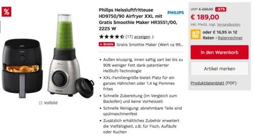 Philips Heissluftfritteuse HD9750/90 Airfryer XXL inkl. Philips Smoothie Maker HR3551/00 - jetzt 24% billiger