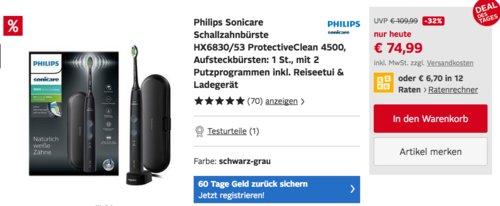 Philips Sonicare Schallzahnbürste HX6830/53 ProtectiveClean 4500 - jetzt 10% billiger