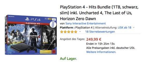 PlayStation 4 1TB Slim - Hits Bundle inkl. Uncharted 4, The Last of Us, Horizon Zero Dawn - jetzt 16% billiger